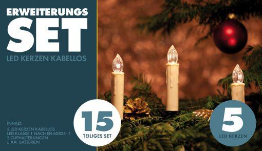 LED Weihnachtskerzen - Erweiterungs SET