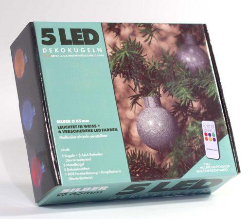 5 LED Dekokugeln mit Fernbedienung silber-glitzernd - ∅ 65mm-0