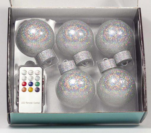 5 LED Dekokugeln mit Fernbedienung silber-glitzernd - ∅ 65mm-438