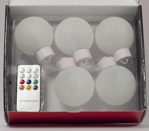 5 LED Dekokugeln mit Fernbedienung wachs-weiss - ∅ 65mm-450